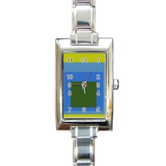 Plaid Green Blue Yellow Rectangle Italian Charm Watch by Mariart