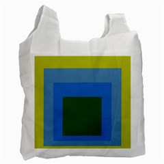 Plaid Green Blue Yellow Recycle Bag (one Side) by Mariart