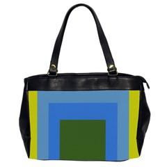 Plaid Green Blue Yellow Office Handbags (2 Sides)  by Mariart