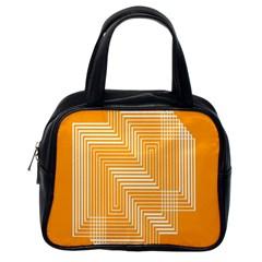 Orange Line Plaid Classic Handbags (one Side) by Mariart