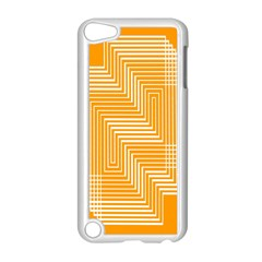 Orange Line Plaid Apple Ipod Touch 5 Case (white) by Mariart