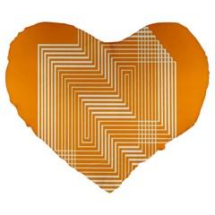 Orange Line Plaid Large 19  Premium Heart Shape Cushions by Mariart