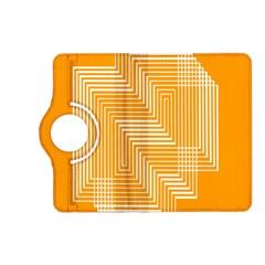 Orange Line Plaid Kindle Fire Hd (2013) Flip 360 Case by Mariart