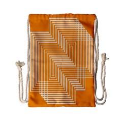 Orange Line Plaid Drawstring Bag (small) by Mariart