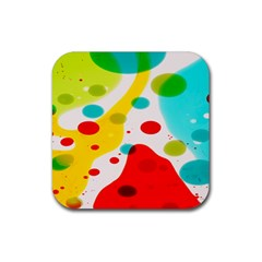 Polkadot Color Rainbow Red Blue Yellow Green Rubber Square Coaster (4 Pack)  by Mariart