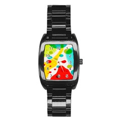 Polkadot Color Rainbow Red Blue Yellow Green Stainless Steel Barrel Watch by Mariart