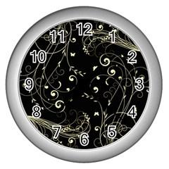 Floral Design Wall Clocks (silver)  by ValentinaDesign
