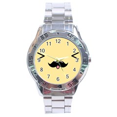 Mustache Stainless Steel Analogue Watch