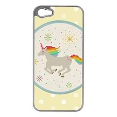 Unicorn Pattern Apple Iphone 5 Case (silver) by Nexatart