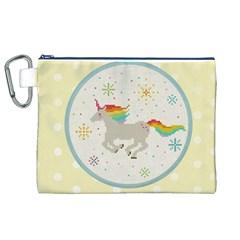 Unicorn Pattern Canvas Cosmetic Bag (xl) by Nexatart