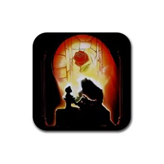 Beauty And The Beast Rubber Square Coaster (4 Pack)  by Nexatart