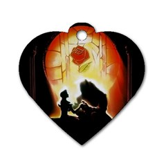 Beauty And The Beast Dog Tag Heart (One Side)