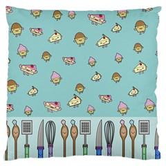 Kawaii Kitchen Border Large Flano Cushion Case (one Side) by Nexatart
