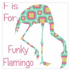 Flamingo Alphabet Funky Flamingo Large Satin Scarf (square) by CrypticFragmentsColors