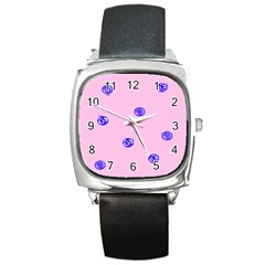 Star Space Balloon Moon Blue Pink Circle Round Polkadot Square Metal Watch by Mariart