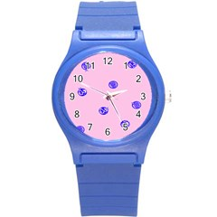 Star Space Balloon Moon Blue Pink Circle Round Polkadot Round Plastic Sport Watch (s) by Mariart