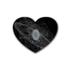 Space X Circle Line Black Heart Coaster (4 Pack)  by Mariart