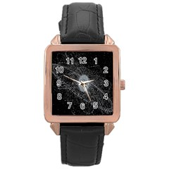 Space X Circle Line Black Rose Gold Leather Watch  by Mariart