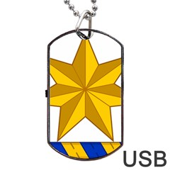 Star Yellow Blue Dog Tag Usb Flash (one Side) by Mariart