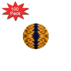 Plaid Blue Gold Wave Chevron 1  Mini Magnets (100 Pack)  by Mariart