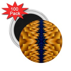Plaid Blue Gold Wave Chevron 2 25  Magnets (100 Pack)  by Mariart