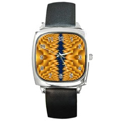 Plaid Blue Gold Wave Chevron Square Metal Watch by Mariart