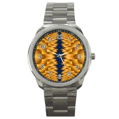 Plaid Blue Gold Wave Chevron Sport Metal Watch by Mariart