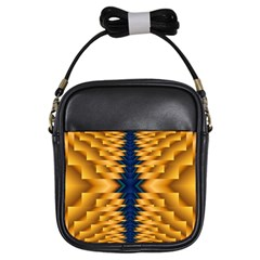Plaid Blue Gold Wave Chevron Girls Sling Bags by Mariart