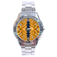 Plaid Blue Gold Wave Chevron Stainless Steel Analogue Watch by Mariart