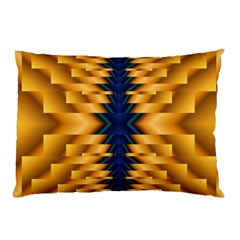 Plaid Blue Gold Wave Chevron Pillow Case (two Sides) by Mariart