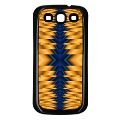 Plaid Blue Gold Wave Chevron Samsung Galaxy S3 Back Case (black) by Mariart