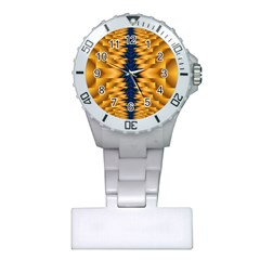 Plaid Blue Gold Wave Chevron Plastic Nurses Watch by Mariart