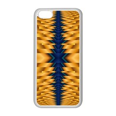 Plaid Blue Gold Wave Chevron Apple Iphone 5c Seamless Case (white) by Mariart