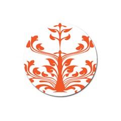 Tree Leaf Flower Orange Sexy Star Magnet 3  (round) by Mariart