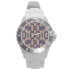 Multicolored Modern Geometric Pattern Round Plastic Sport Watch (l) by dflcprints