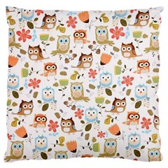 Cute Owl Large Cushion Case (two Sides) by Nexatart