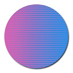Turquoise Pink Stripe Light Blue Round Mousepads by Mariart