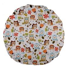 Cute Owl Large 18  Premium Flano Round Cushions by Nexatart