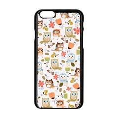 Cute Owl Apple Iphone 6/6s Black Enamel Case by Nexatart