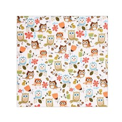 Cute Owl Small Satin Scarf (square) by Nexatart