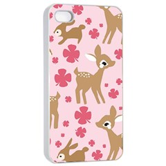 Preety Deer Cute Apple Iphone 4/4s Seamless Case (white) by Nexatart