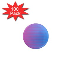 Turquoise Pink Stripe Light Blue 1  Mini Magnets (100 Pack)  by Mariart