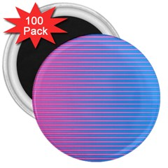 Turquoise Pink Stripe Light Blue 3  Magnets (100 Pack) by Mariart