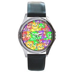 Cute Cartoon Crowd Of Colourful Kids Bears Round Metal Watch by Nexatart