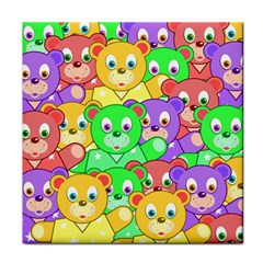 Cute Cartoon Crowd Of Colourful Kids Bears Face Towel