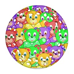 Cute Cartoon Crowd Of Colourful Kids Bears Round Filigree Ornament (two Sides) by Nexatart
