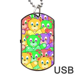Cute Cartoon Crowd Of Colourful Kids Bears Dog Tag Usb Flash (two Sides) by Nexatart