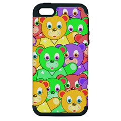 Cute Cartoon Crowd Of Colourful Kids Bears Apple Iphone 5 Hardshell Case (pc+silicone) by Nexatart