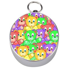 Cute Cartoon Crowd Of Colourful Kids Bears Silver Compasses by Nexatart