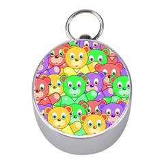Cute Cartoon Crowd Of Colourful Kids Bears Mini Silver Compasses by Nexatart